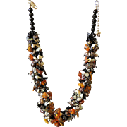 Amber, Tiger Eye and cultured Freshwater Pearls Necklace, with Rutilated Quartz and Black Obsidian
