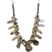 Botswana Agate Necklace with Amethyst, Rutilated Quartz, Citrine and Blister cultured Freshwater Pearls