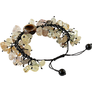 Rutilated Quartz and Agate Bracelet, adjustable