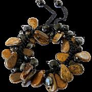Bronzite with Black Turmaline Rutilated Quartz Bracelet
