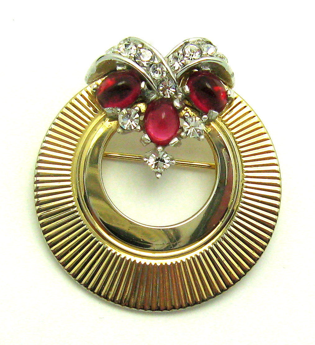 Boucher Black Flower Rose Pin Brooch Signed Numbered: Vintage BOUCHER Circle Set Brooch Pin Earrings Ruby Red