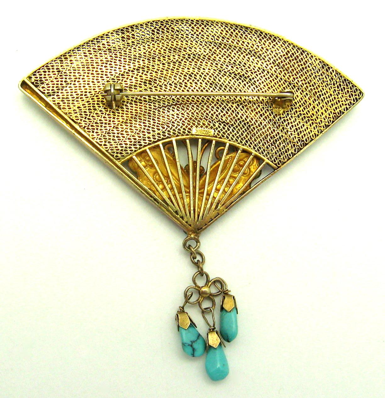 art deco chinese silver cloisonne enamel butterfly fan brooch from rubylane sold on ruby lane. Black Bedroom Furniture Sets. Home Design Ideas