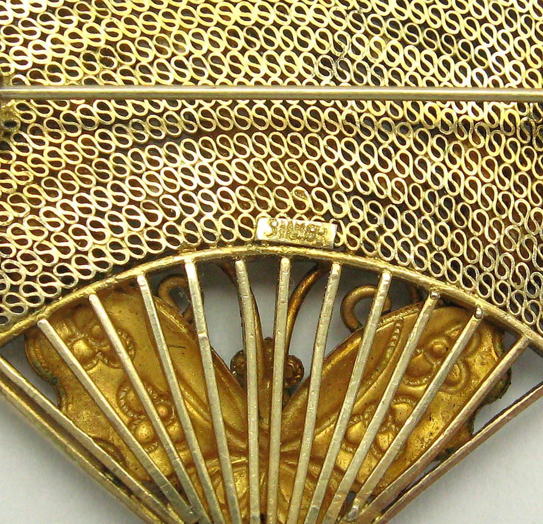 art deco chinese silver cloisonne enamel butterfly fan brooch sold on ruby lane. Black Bedroom Furniture Sets. Home Design Ideas