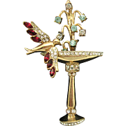 1947 RARE Pegasus COROCRAFT Flawed Sterling Swallow at a Fountain Brooch