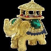 Vintage CINER India Maharaja Howda Elephant Brooch Rhinestones Enamel