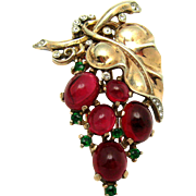 Vintage TRIFARI Philippe Sterling Ruby Red Cabochon Grapes Fur Clip Pin RARE