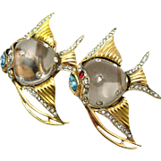 Vintage 1944 CORO Vermeil Sterling Jelly Belly Angel Fish Duette Brooch Clip