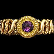 Beautiful Antique Edwardian Amethyst Gemstone Concertina Bracelet