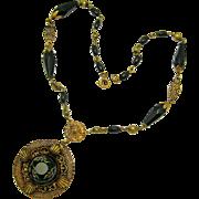 Vintage ART DECO Hand Painted Pendant Unique Flower Beads 18k Gold Gilded Necklace