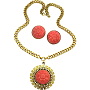 NETTIE ROSENSTEIN Set Round Faux Carved Coral Pendant Necklace Earrings RARE!