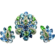 Vintage EISENBERG Set Large Brooch Pin Earrings Dentelle Cut Crystal Rhinestones