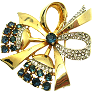 Darling Vintage MAZER Gold Plated Floral Bow Brooch Sapphire Crystal Rhinestones
