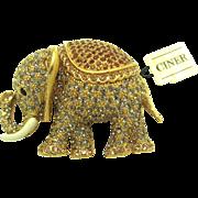 Large CINER Elephant Brooch Pin Swarovski Crystal Rhinestones Enamel RARE!