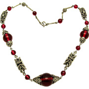 Rare Art Deco JAKOB BENGEL Necklace Ruby Red Glass Beads & Chrome Rings