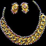 Vintage HOBE Set Bib Style Necklace Earrings AB Red Crystal Rhinestones Stunning!