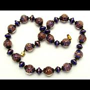 Vintage Art Deco Venetian Blue & Gold Aventurine Sommerso Glass Bead Necklace