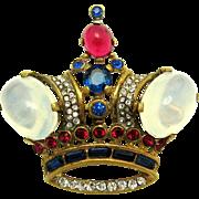 TRIFARI A Philippe Sterling Moonstone Cabochons Rhinestones Large Crown Brooch