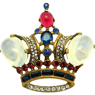 TRIFARI A Philippe Sterling Moonstone Cabochons Rhinestones Large Crown Brooch