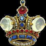 1940s TRIFARI Philippe Sterling Moonstones Rhinestones Queen Crown Brooch