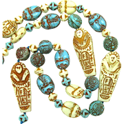 Art Deco Czech Neiger Egyptian Revival Blue Scarab and Mummy Glass Bead Necklace