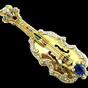 Rare COROCRAFT Sterling Pave Ruby Sapphire Emerald 'Carnegie Hall' Violin Brooch