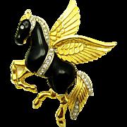 Vintage KRAMER Pegasus Mythical Flying Horse Gold Plated Rhinestone Brooch