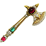 1941 Crown Trifari A Philippe Faux Ruby and Emerald Cabochons Battle Axe Brooch