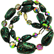 Art Deco Venetian Aventurine Rainbow Speckle Spatter Glass Bead Necklace