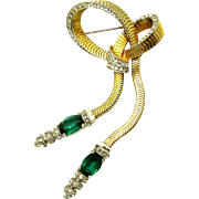1948 MB Boucher Pave Bow Double Articulated Pendants Green Rhinestones Brooch