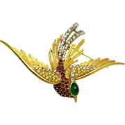 Vintage BOUCHER Rare and Large Bird Brooch 18k Gold Plated Crystal Rhinestones