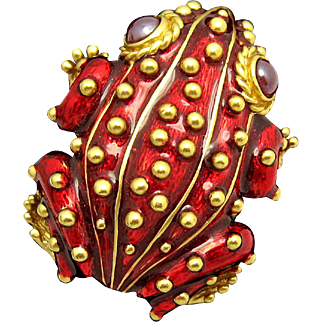 Stunning CINER Frog Brooch with Red Metallic Enamel and Red Gripoix Eyes HTF