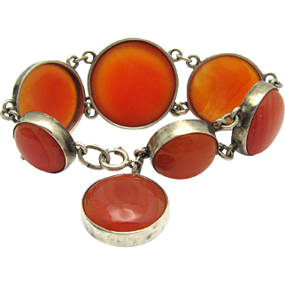 Antique Late Victorian-Edwardian Scottish Specimen Agate Silver Bracelet