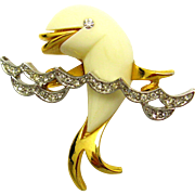 Early BOUCHER Figural White Lucite Dolphin Brooch Riding in Crystal Waves