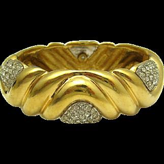 Vintage CINER 18k Gold Plated Bracelet with Pave Crystal Rhinestones