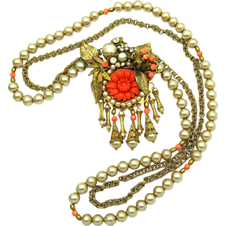 MIRIAM HASKELL Pendant Necklace Baroque and Round Faux Pearls Coral Beads