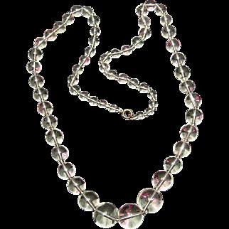 Art Deco 'Pools of Light' Rock Crystal Quartz Beads Long Necklace Mystical!