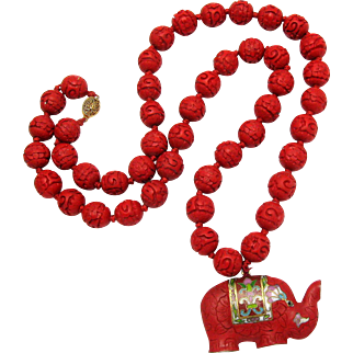 Vintage Chinese Carved Cinnabar Necklace Cinnabar and Cloisonne Elephant Pendant