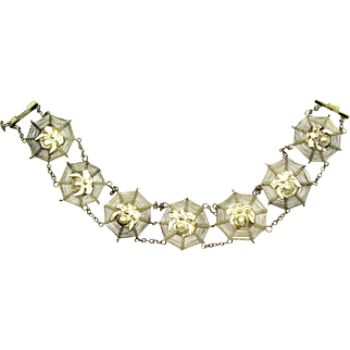 Victorian Silver Filigree Spiders Web Bracelet with 3-Dimensional Spiders
