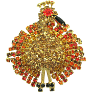 Vintage ALICE CAVINESS Dimensional Turkey Brooch Sparkling Flapping Feathers