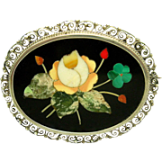 Victorian Italian 800 Silver Pietra Dura Mosaic Rose Forget-Me-Not Flower Brooch