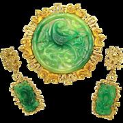 Vintage Vendome (Coro) Set Chinese Motif Faux Jade Phoenix Bird Brooch Earrings