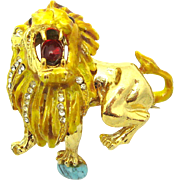 Rare HATTIE CARNEGIE Roaring Lion Brooch Rhinestones Cabochons and Gold Enamel
