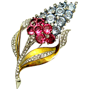 MB BOUCHER Periwinkle Blue Pink Topaz and Pave Crystals Hyacinth Flower Brooch