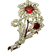 CROWN TRIFARI Philippe 1940 Flower Brooch Clip Pave Crystal Rhinestones Enamel