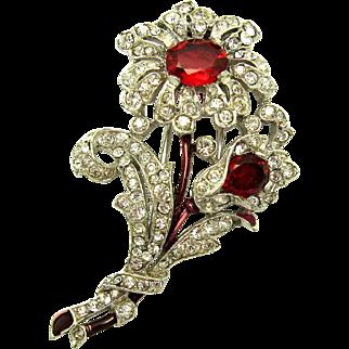 CROWN TRIFARI Philippe 1940 Flower Brooch Clip Pave Crystal Rhinestones Enamel