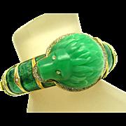 HATTIE CARNEGIE Jade Lucite Metallic Enamel Rhinestones Lion's Head Bracelet
