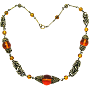 Rare Art Deco JAKOB BENGEL Necklace Topaz Glass Beads & Chrome Rings