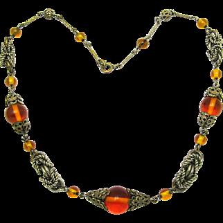 Rare Art Deco JAKOB BENGEL Necklace Topaz Glass Beads & Chrome Rings