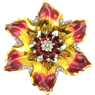 Rare CORO CRAFT Sterling Red Enamel Red Rhinestones and Pave Large Floral Brooch