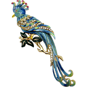 Vintage 1941 CORO Blue and Green Enameled Pave 'Big Parrot' Pin Clip Book Piece
